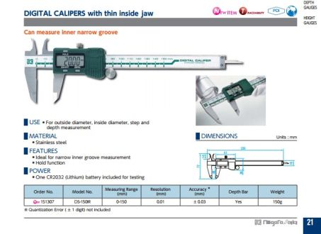 Digital Calipers w/ Thin Inside Jaw (DS-150R) 2
